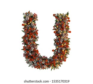 3D rendering of Alphabet letter T, colorful and beautiful font made of Tulips flower, ready to use for illustration and graphic design