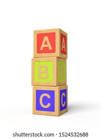 3d rendering of alphabet toy blocks. Digital art. Children playtime. Toys and games.