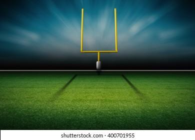 3d rendering american football field goal post