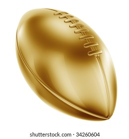 3d rendering of an american football in gold