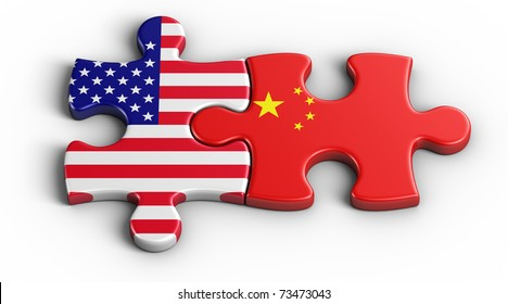 3d rendering of an american puzzle piece and a Chinesse