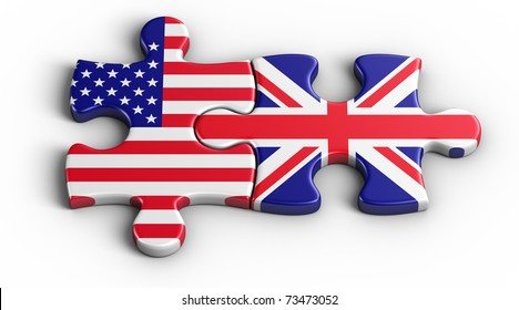 3d rendering of an american puzzle piece and a British