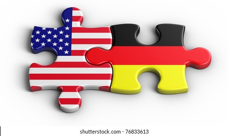 3d rendering of an american puzzle piece and a German