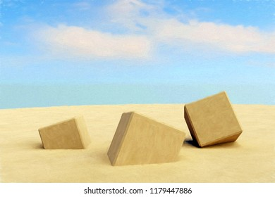 3D rendering of ancient stone cubes lying in the desert sand. landscape scene with cloudy sky