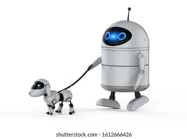 3d rendering android robot or artificial intelligence robot with dog robot