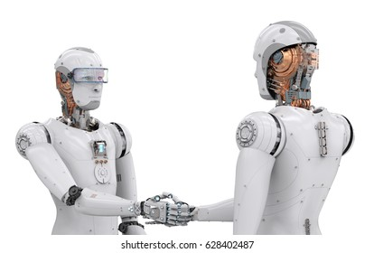 3d rendering android robot hand shaking on white background