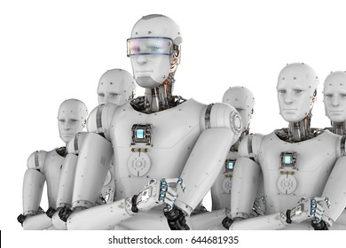 3d rendering android robot leader with team