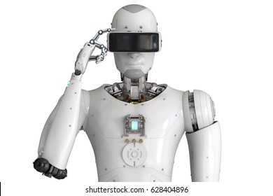 3d rendering android robot wearing vr headset
