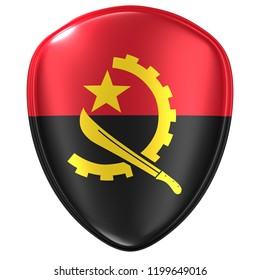 3d rendering of an Angola flag icon on white background.