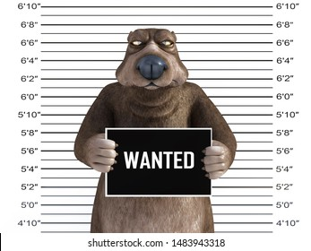 3D rendering of an angry cartoon bear holding a Wanted sign while getting his mug shot, looking a bit annoyed.