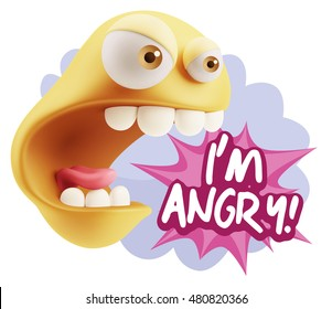 3d Rendering Angry Character Emoji saying I'm Angry with Colorful Speech Bubble.
