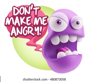 3d Rendering Angry Character Emoji saying Don't Make Me Angry with Colorful Speech Bubble.