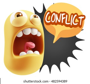 3d Rendering Angry Character Emoji saying Conflict with Colorful Speech Bubble.