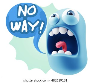 3d Rendering Angry Character Emoji saying No Way with Colorful Speech Bubble.