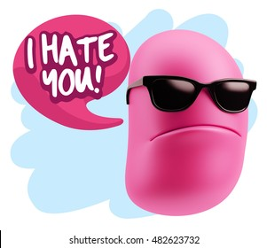3d Rendering Angry Character Emoji saying I Hate you with Colorful Speech Bubble.