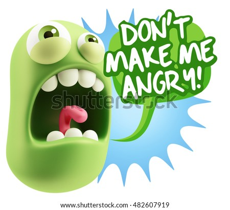 3 D Rendering Angry Character Emoji Saying Stock Illustration
