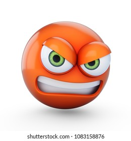 3D Rendering angry emoji isolated on white background