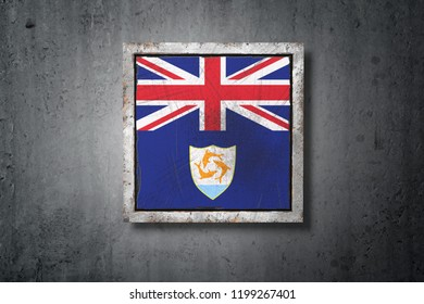 3d rendering of an Anguilla flag in a concrete wall