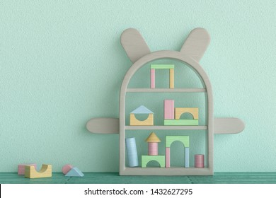 3d rendering of an animal shaped shelf with arms and ears and pastel coloured building blocks in nursery