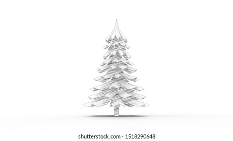3d rendering of a animated christmas pine tree isolated in white studio background
