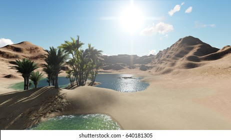 3d rendering animation of Oasis in the desert