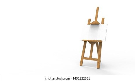 3d rendering animation of a painting easel in white studio background