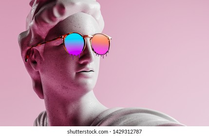 3d rendering of apollo style design background vaporwave concept.