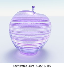 3d rendering. Apple made of glass