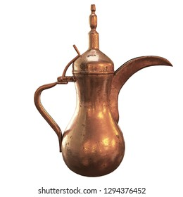 3D Rendering of Arabic Teapot Gold or Dallah Teapot, this teapot usually found in Arabic Countries.