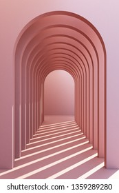 3d rendering arc rhythm in pink color tone