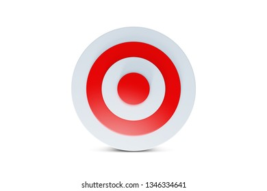 3d rendering of archery target board symbol, isolated on white background.