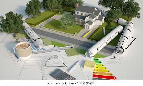 3D rendering of an architectural and landscapemodel with blueprints, energy efficiency charts and other documents