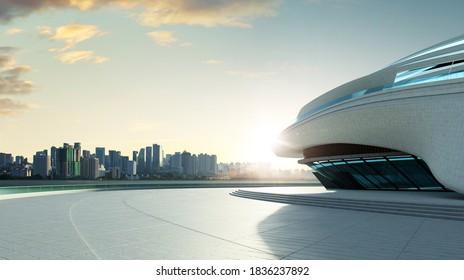 3D rendering architecture with futuristic streamlined design. Sunrise scene