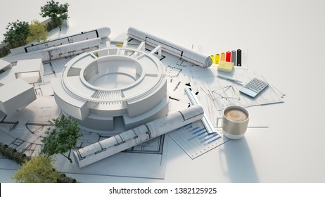 3D rendering of the architecture model of a circular building with trees on top of blueprints, documents  and energy efficiency chart