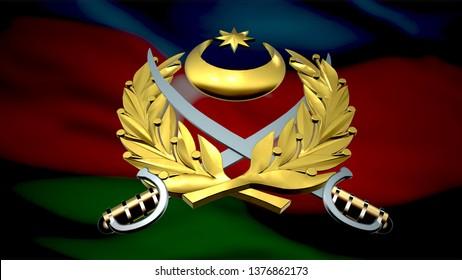 3D rendering  Armed Forces of Azerbaijan emblem