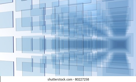3D rendering of an array of blue glass panel on white background