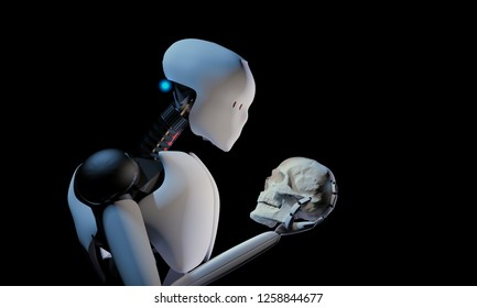 3D rendering of artificial intelligence humanoid robot holding a human scull understanding evolution