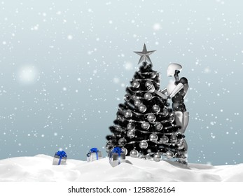 3D rendering of artificial intelligence robot decorating a Christmas tree on a snowy day. Gift boxes can be seen.