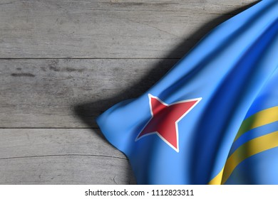3d rendering of Aruba flag over a wooden surface