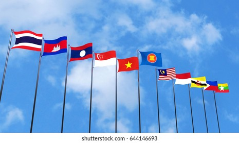 3D rendering of asean country's flags on sky background