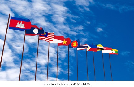 3d rendering ASEAN flag with sky background
