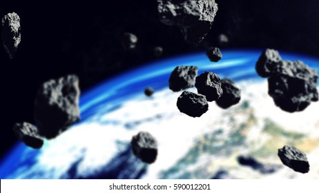 3d rendering of Asteroids Closing to the Earth Planet. Focus on the Asteroids. Apocalypse Concept.