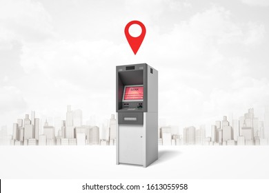 3d rendering of ATM with red screen, standing against background of gray and white modern city, with red geotag in air above ATM. City navigation. Withdrawal of money. Big shopping trips.