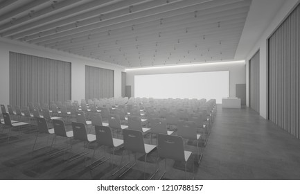 3D Rendering of auditorium meeting floor concrete LED tv curtains interior illustration