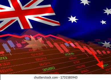 3D rendering of Australia economic downturn with stock exchange market showing stock chart down and in red negative territory. Business and financial money market crisis concept. Illustration.