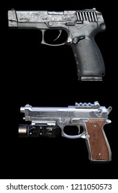 3d rendering automatic firearm isolated
