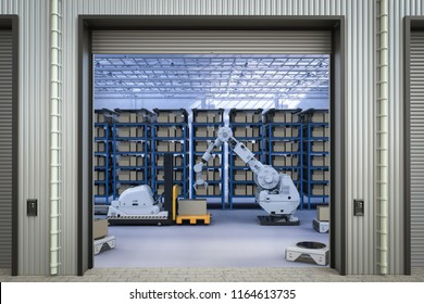 3d rendering automatic forklift and robot arm in warehouse