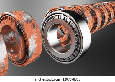 3D rendering. Automotive bearings auto spare parts. New and old tapered roller bearing isolated on a white background. Wheel bearing for truck, heavy duty and car.