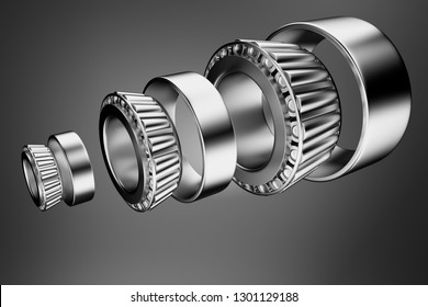 3D rendering. Automotive bearings auto spare parts. Tapered roller bearing isolated on a dark background. Wheel bearing for truck, heavy duty and car.