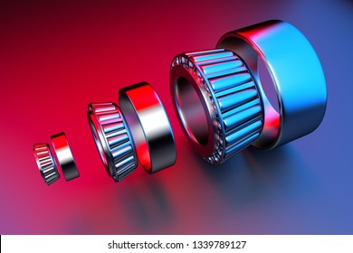 3D rendering. Automotive bearings auto spare parts. Tapered roller bearing isolated on a background. Wheel bearing for truck, heavy duty and car.